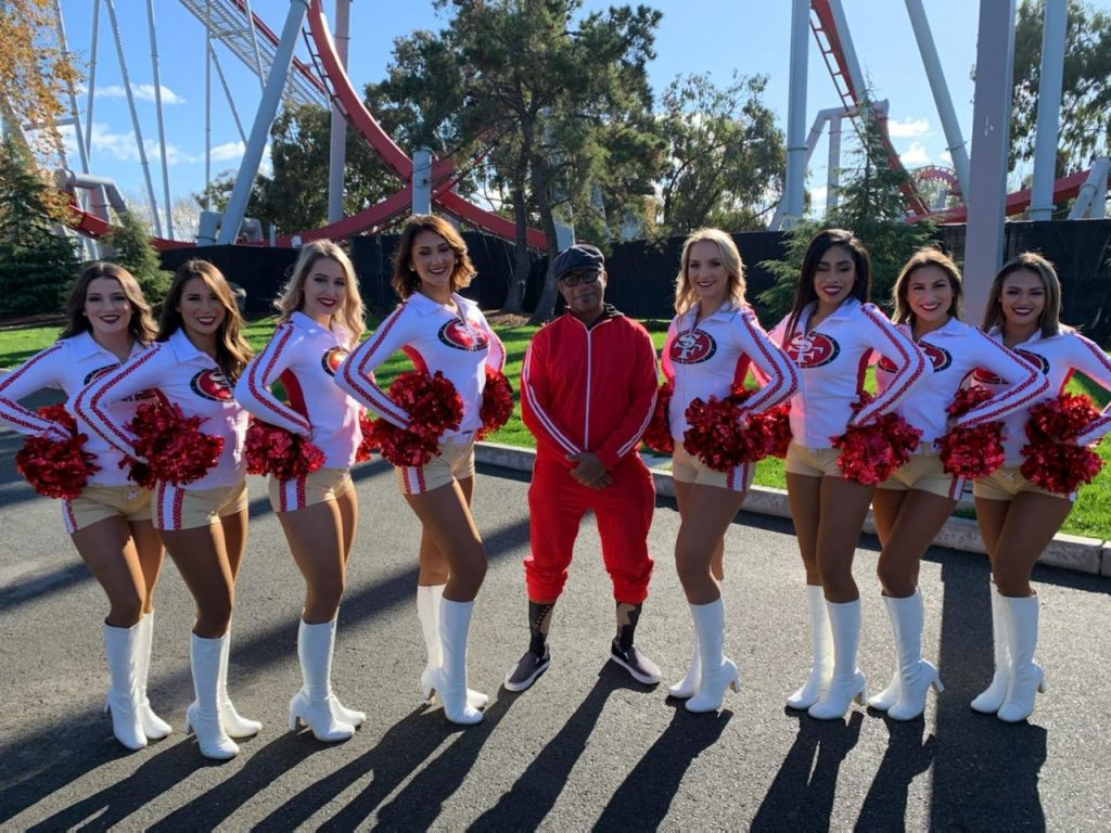 Bryan with the 49er Gold Rush Cheerleaders